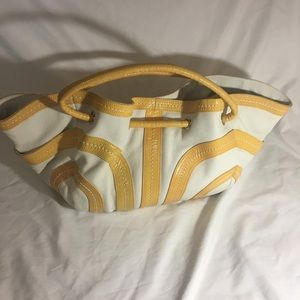 New Kate Landry yellow and white leather bag 12x9